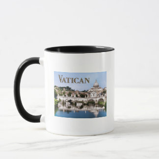 Vatican City Seen from Tiber River text   VATICAN Mug