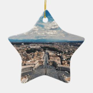 Vatican city top view ceramic star ornament