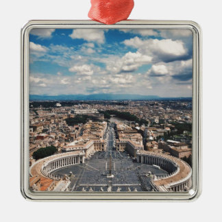 Vatican city top view Silver-Colored square ornament