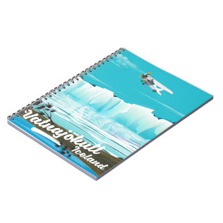 Vatnajökull iceland travel poster notebook