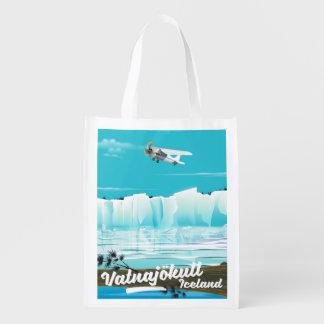 Vatnajökull iceland travel poster reusable grocery bag