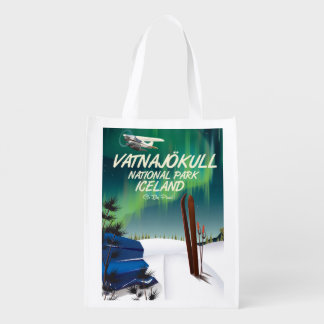 Vatnajökull National Park Iceland travel poster Reusable Grocery Bag