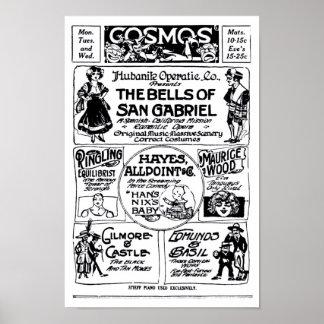 Vaudeville 1915 vintage newspaper ad poster