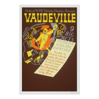 Vaudeville 9 Big Acts 1937 WPA Poster