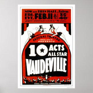 Vaudeville All Star 1938 WPA Poster
