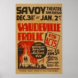 Vaudeville Frolic 15 Acts Gala Midnight Show WPA Poster