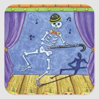 Vaudeville Skeleton Square Sticker