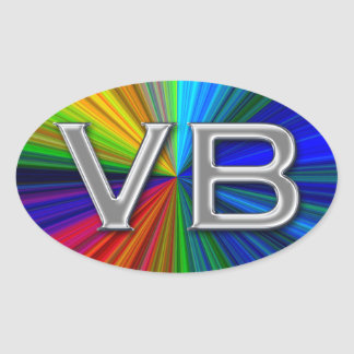 VB Virginia Beach Psychodelic Colors Oval Logo Oval Sticker