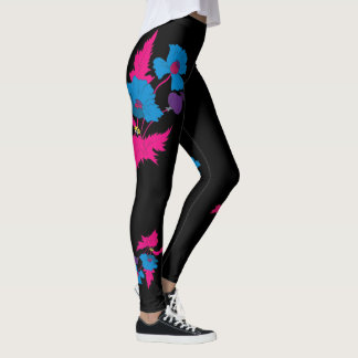 Vector Abstract colourful poppy flower. Leggings