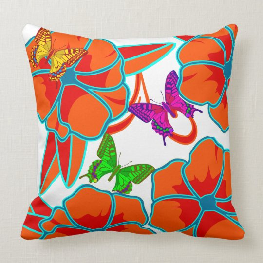 Vector. abstract Flowers and butterflies Throw Pillow