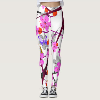 Vector abstract flowers and colourd  butterflies leggings