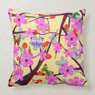 Vector abstract flowers and coloured  butterflies throw pillow