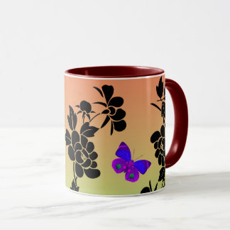 Vector abstract flowers with blue  butterflies mug