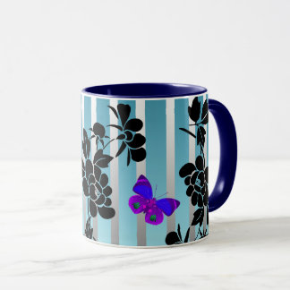 Vector abstract flowers with blue  buutterflies mug