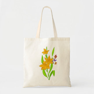 Vector  abstract Flowers with Buttflies Budget Tote Bag