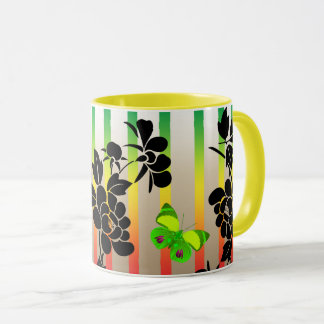 Vector abstract flowers with green buutterflies mug