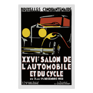 Vector art deco Brussels 1930s auto salon Poster