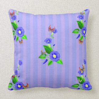 Vector blue  flowers  and butterflies throw pillow