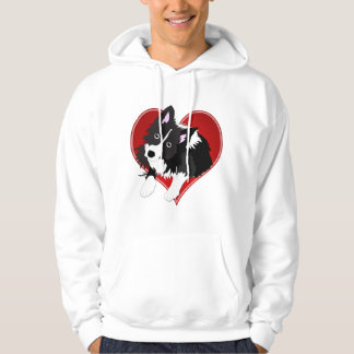 Vector Border Collie in Valentine Heart Hoodie