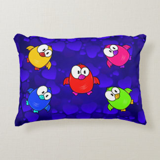 Vector  Cartoon Birds Accent Pillow