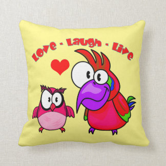 Vector Cartoon Birds with text Love Laugh Live Pillows