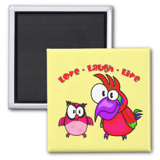 Vector Cartoon Birds with text Love Laugh Live Square Magnet