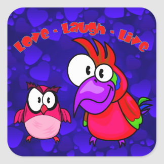 Vector Cartoon Birds with text Love Laugh Live Square Sticker