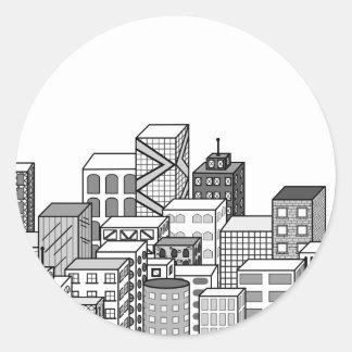 Vector Cityscape (Black & White) Classic Round Sticker