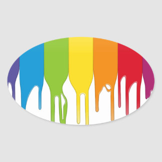 Vector Color Paint Oval Sticker