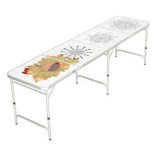 Vector decorative mandala illustration beer pong table