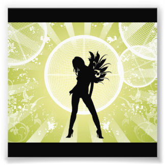 Vector Fashion Girl with Abstract Background GREEN Photographic Print