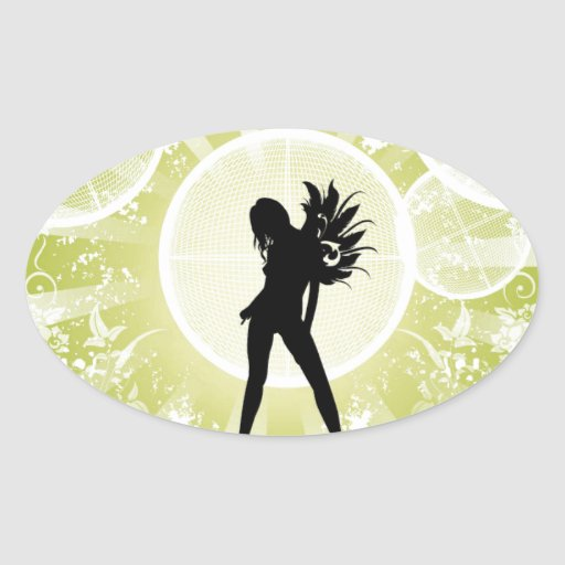 Vector Fashion Girl with Abstract Background GREEN Oval Stickers