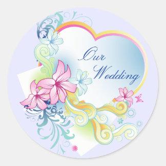 Vector Flowers And Heart Wedding Sticker-Purple Round Sticker