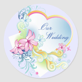 Vector Flowers And Heart Wedding Sticker-Purple Classic Round Sticker