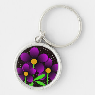 Vector Flowers in Purple Silver-Colored Round Keychain