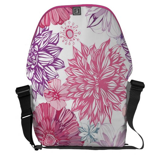 Vector flowers pattern courier bags