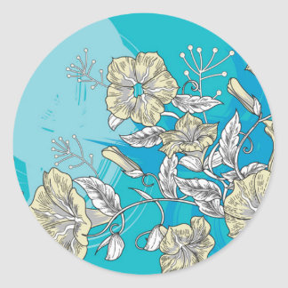 vector flowers with blue classic round sticker