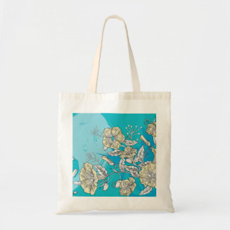 vector flowers with blue tote bag