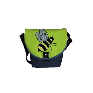 Vector Flying Bee (Green Background) Messenger Bags