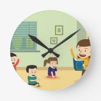 vector-free-teacher-reading-a-book-for-her-student round clock