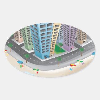 Vector Graphic -3D Hotels CARTOON ISLAND OCEAN VAC Oval Stickers