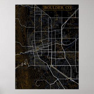 Vector Graphics Map of Boulder, Colorado Poster