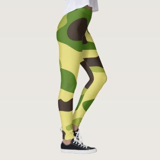 Vector Green Camouflage Pattern Leggings