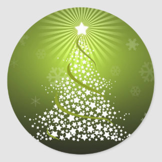 Vector Green Christmas Tree Classic Round Sticker