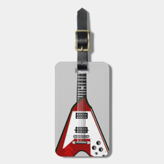 Vector guitar red/white luggage tag