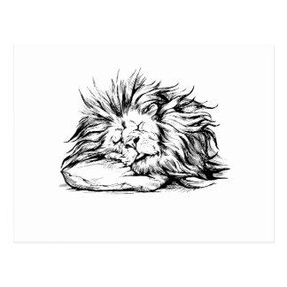 Vector hand drawn realistic lion sleeping characte postcard