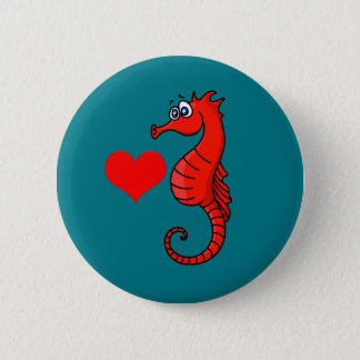 Vector  Heart and Seahorse 2 Inch Round Button
