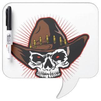 Vector illustration of Cowboy skull Dry-Erase Board