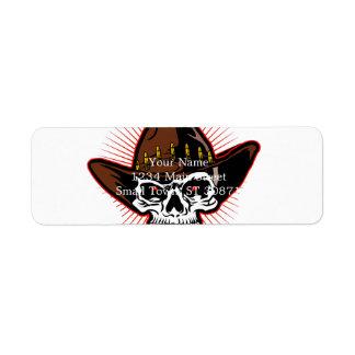 Vector illustration of Cowboy skull Return Address Label