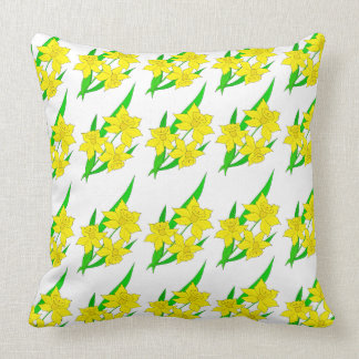 Vector illustration with daffodil throw pillow